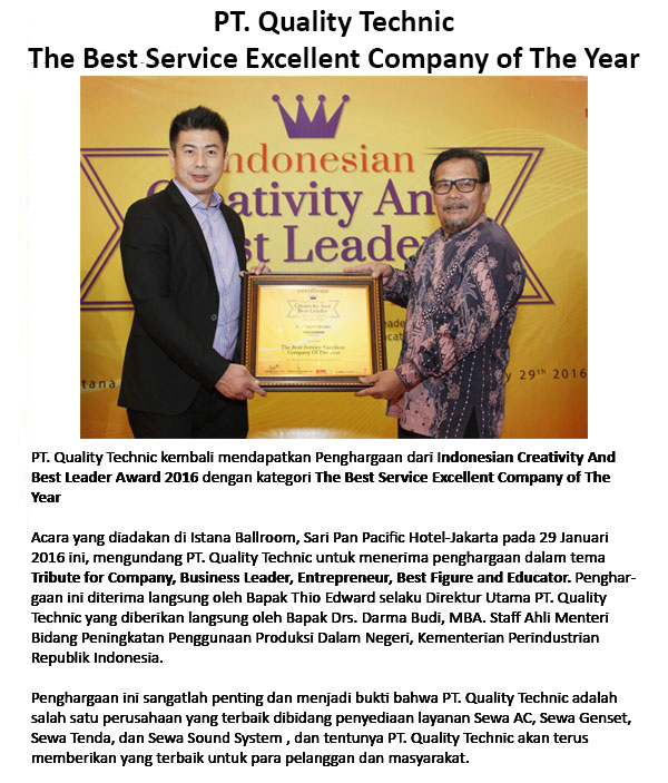Award-Quality Technic-The-Best-Service-Excellent-Company-of-The-Year