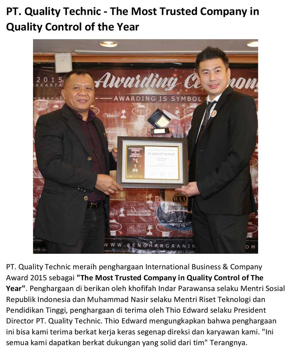 Quality Technic Award - The Most Trusted Company in Quality Control of The Year