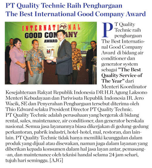 The Best International Good Company Award - Air conditioner and Generator System-article